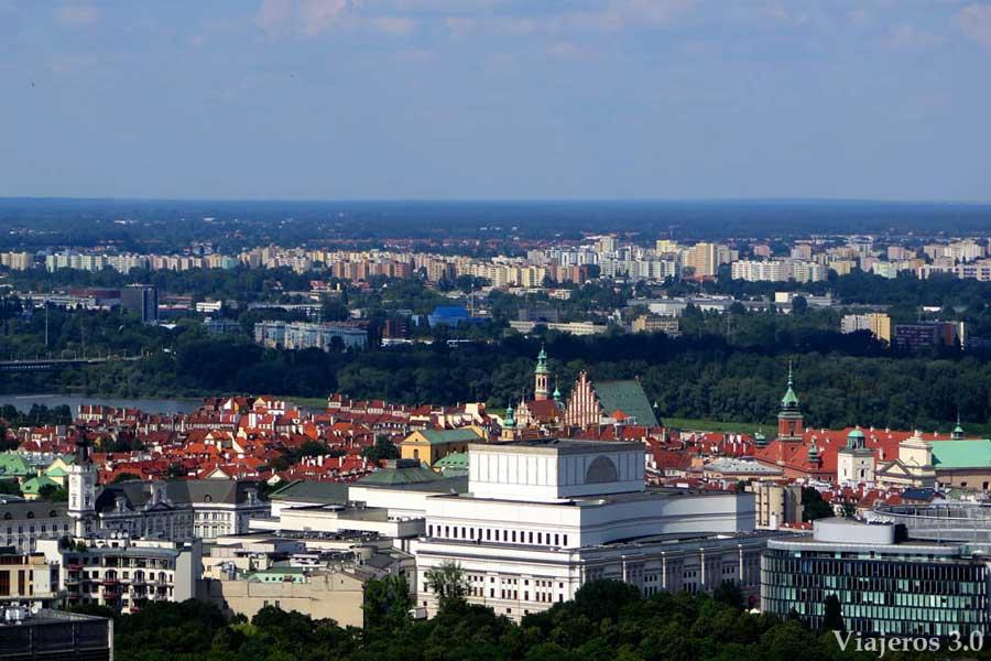 vistas panorámicas desde el Palacio de Cultura y Ciencias de Varsovia