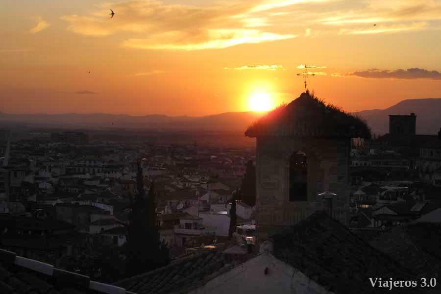 atardecer en Granada desde el Realejo