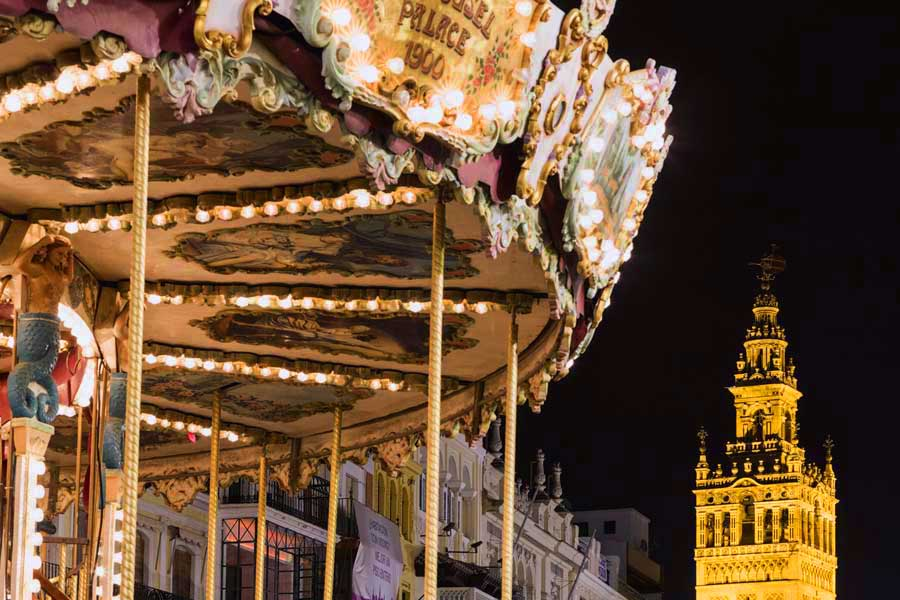 parque navideño Plaza de San Francisco. Navidad en Sevilla.