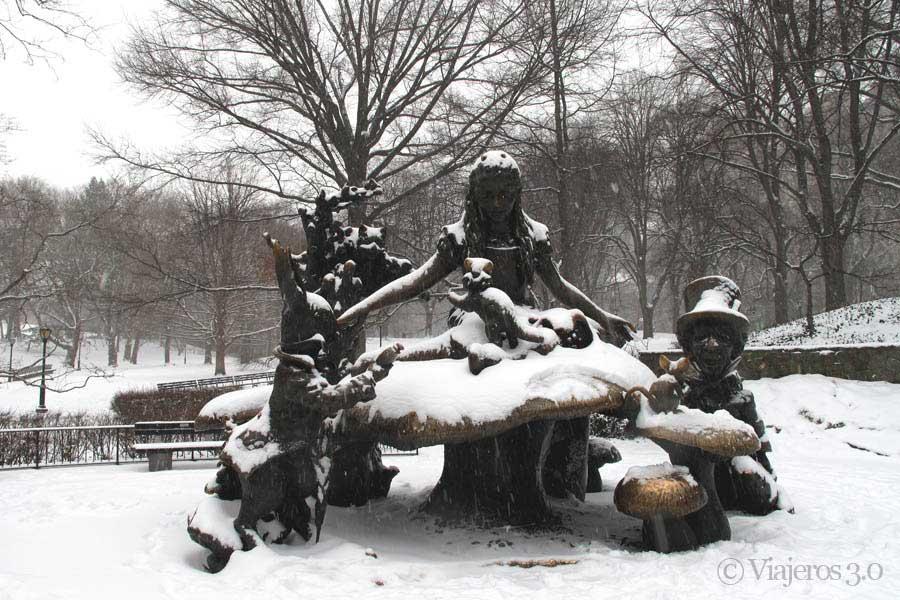 Central Park nevado en Nueva York.