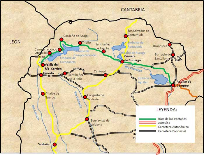 Mapa de la ruta pantanos de la Montaña Palentina