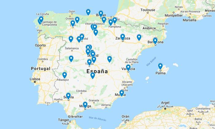 mapa con los museos y monumentos gratis para parados