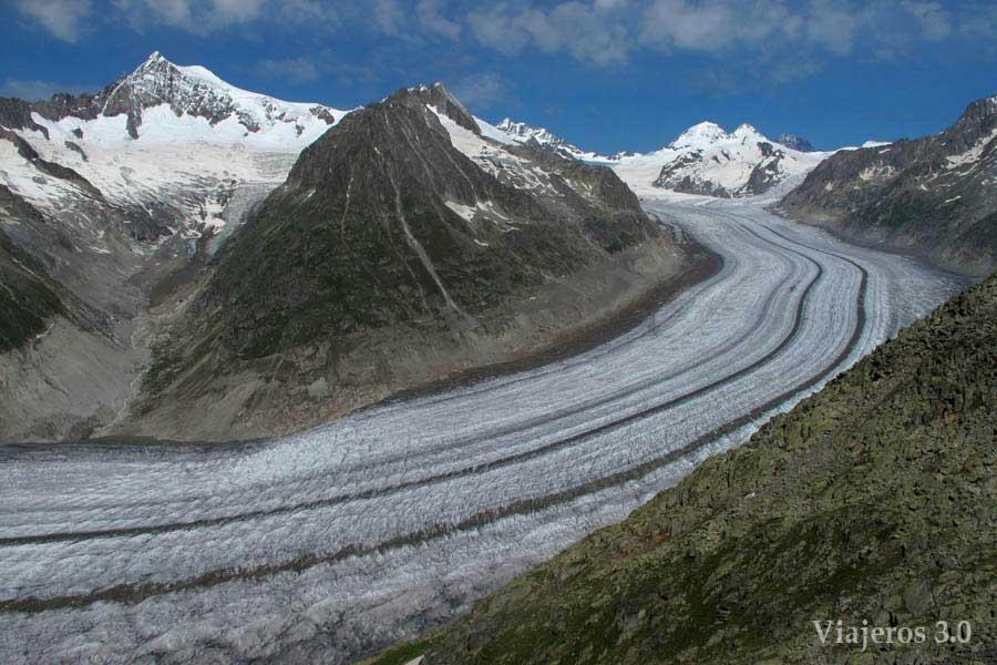 Panorámica del glaciar Aletsch en Suiza