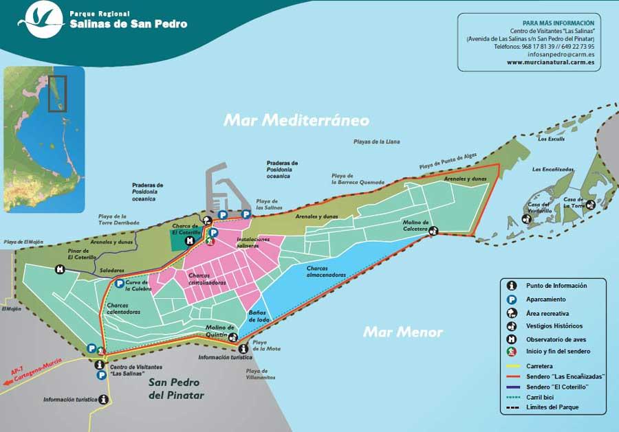 Mapa de las Salinas de San Pedro, Murcia.