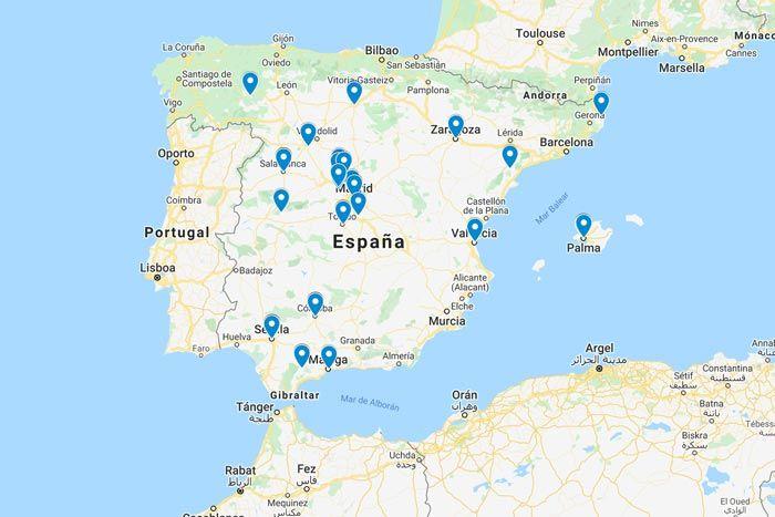 Monumentos gratis en España, mapa de localización