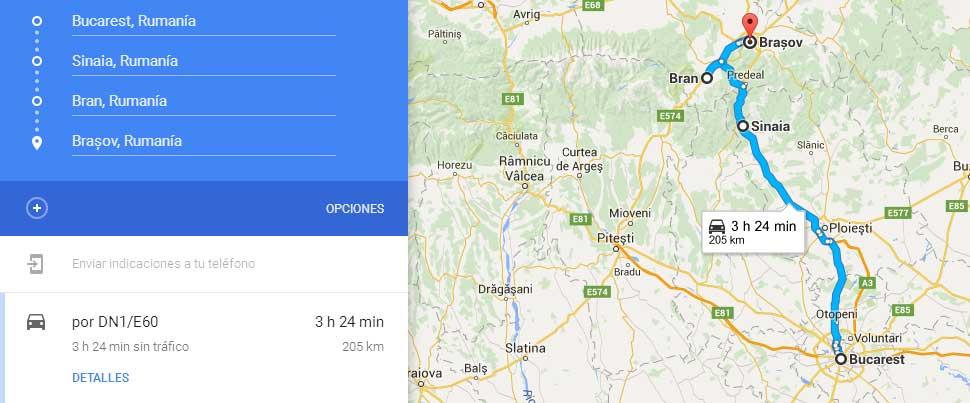 Ruta de Bucarest a Brasov