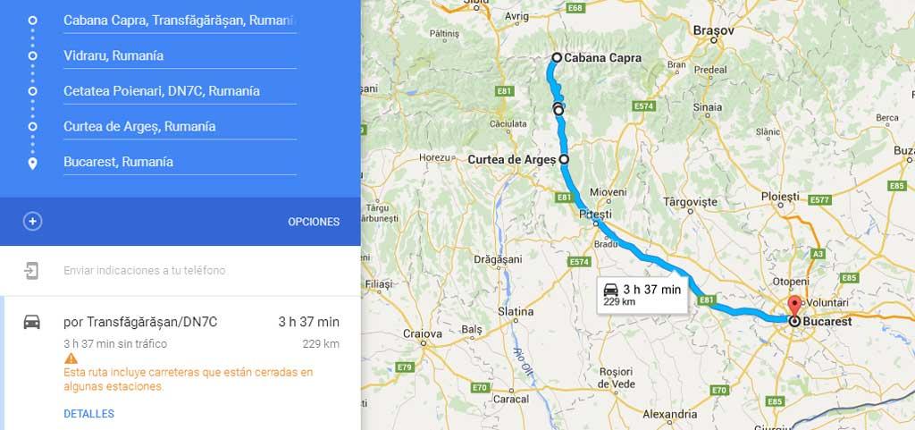 Ruta de la carretera Transfagarasan a Bucarest, en Rumanía