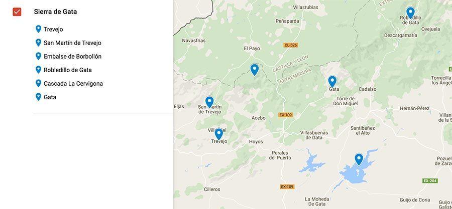 mapa Sierra de Gata