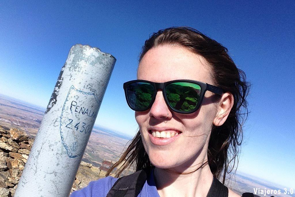 En la cima del Pico Peñalara.