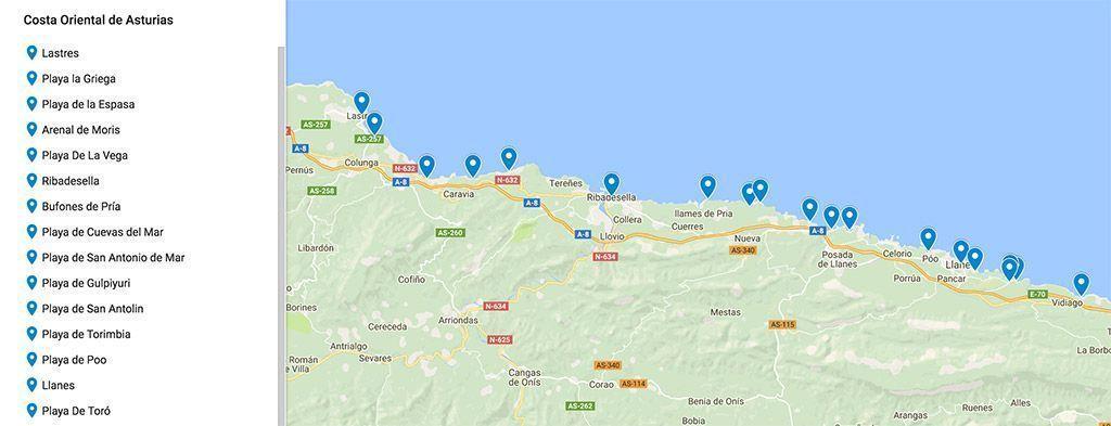 Mapa De Asturias Y Cantabria Juntos.Mapa Costa De Asturias Viajeros 3 0 Blog De Viajes