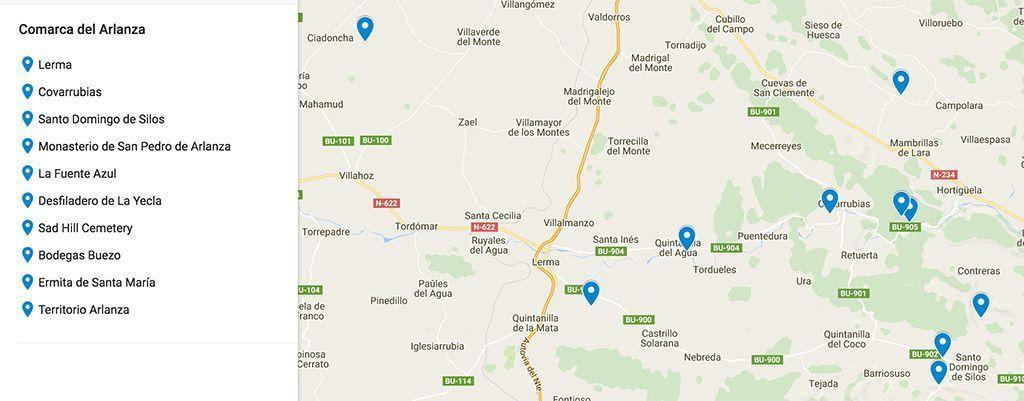 mapa de la Comarca del Arlanza