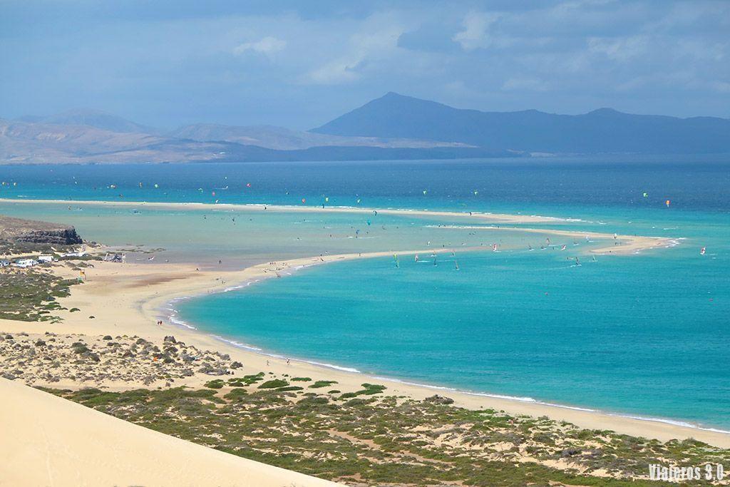 vista general de la playa de Sotavento, las mejores playas de Fuerteventura