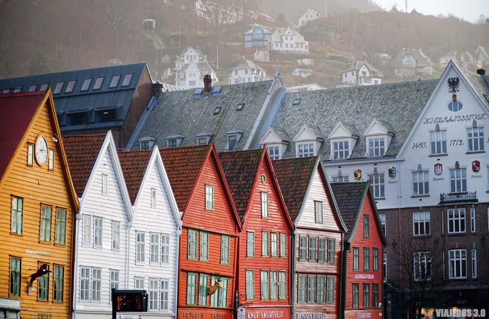 Barrio de Bryggen en Bergen.
