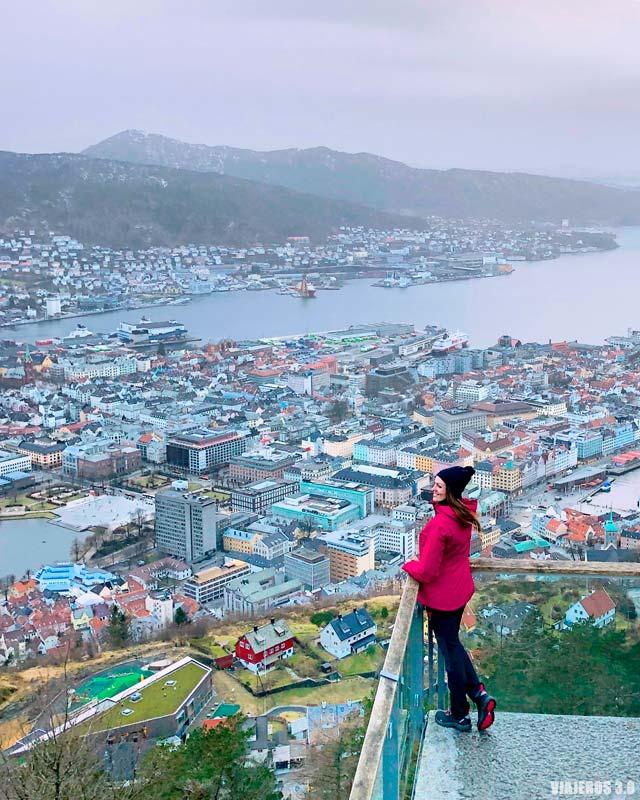 Panorámica de Bergen, viajar a Noruega en invierno