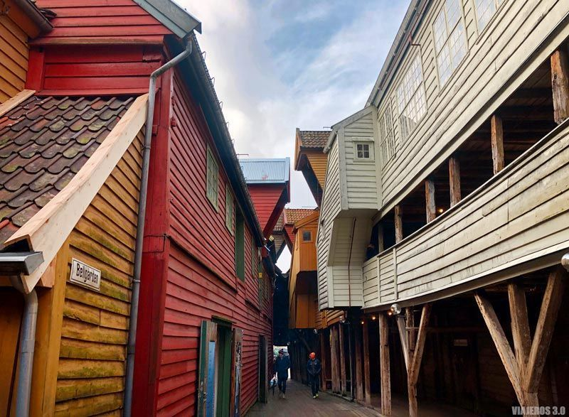 Callejuelas de madera en Bryggen, Bergen