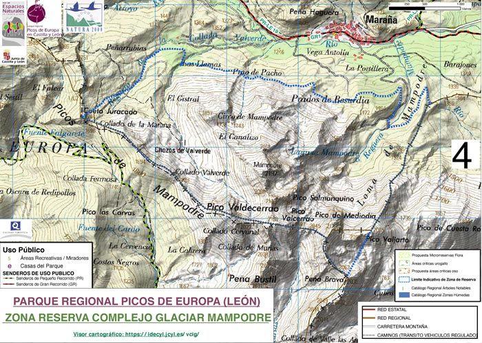 Mapa de la Reserva de Mampodre.